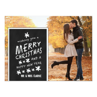 CHALKBOARD PHOTO HOLIDAY GREETING FLAT CARD PERSONALIZED INVITATIONS