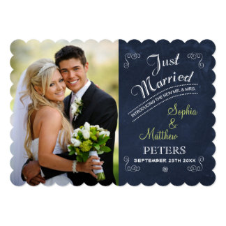 Chalkboard | Photo | Just Married Card 13 Cm X 18 Cm Invitation Card