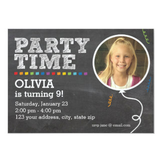 Chalkboard Photo Party Invitation