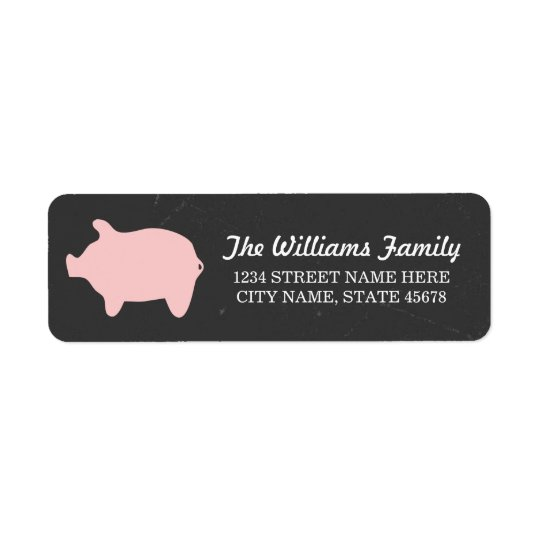Chalkboard Piggie Address Labels / Pink