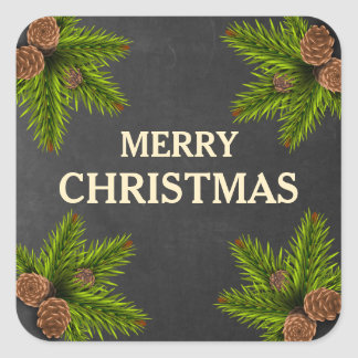 Chalkboard Pine Cones Merry Christmas Square Sticker