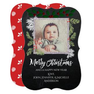 Chalkboard Pine Photo Christmas Card