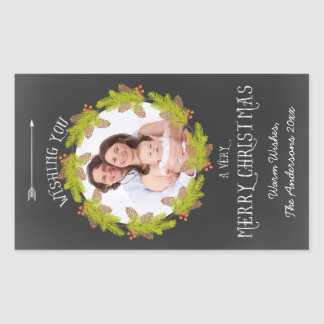Chalkboard Pine Wreath Holiday Photo Rectangular Sticker