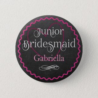 Chalkboard Pink Heart Wedding | Junior Bridesmaid 6 Cm Round Badge