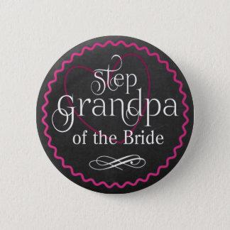 Chalkboard Pink Heart Wedding | Step Grandpa Bride 6 Cm Round Badge