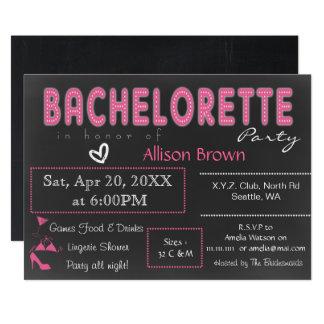 Chalkboard pink Lingerie Shower Bachelorette Card