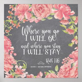 Chalkboard pink peonies quote wedding sign