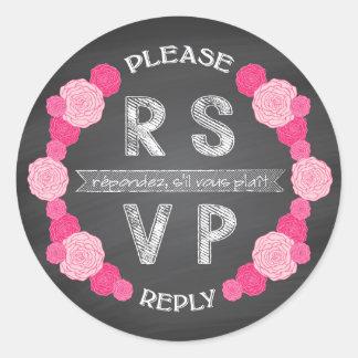 Chalkboard Pink Roses RSVP Sticker