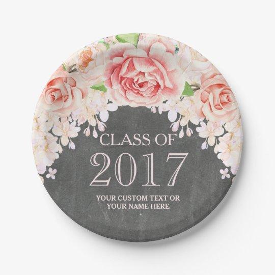 Chalkboard Pink Watercolor Flowers Graduation 2017 7 Inch Paper Plate