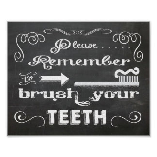 Chalkboard Please Brush your teeth poster