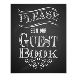 "Chalkboard ""Please sign our Guest book"" print"