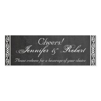Chalkboard Posh Wedding Drink Tickets Business Card