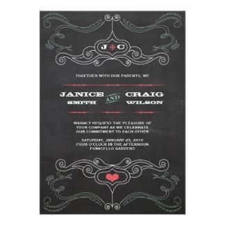 Chalkboard Poster Pink Mint Wedding Invitations