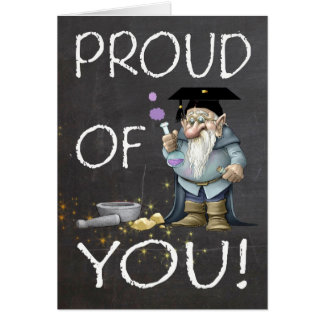 Chalkboard Proud Of You Graduation With Gnome Card