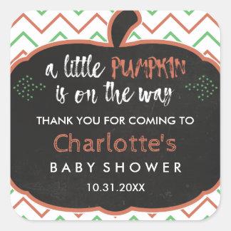 Chalkboard Pumpkin & Chevron Baby Shower Thank You Square Sticker