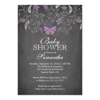 Chalkboard  Purple Butterfly Girl Baby Shower Card