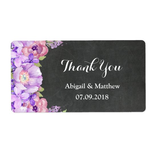 Chalkboard Purple Lavender Floral Wedding Labels