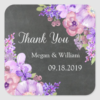 Chalkboard Purple Lavender Floral Wedding Tags Square Sticker
