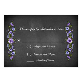 Chalkboard Purple Pansies RSVP Card 9 Cm X 13 Cm Invitation Card