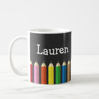 Chalkboard Rainbow Pencil Crayons Name Artist Mug
