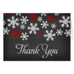 Chalkboard Red and White Snowflake Thank You Note Card