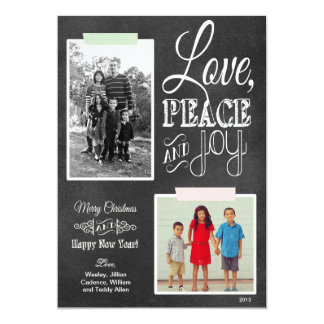 Chalkboard Red Green Washi Tape Holiday Photo Card 13 Cm X 18 Cm Invitation Card