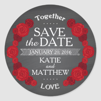 Chalkboard Red Roses Save the Date Gift Label Round Sticker
