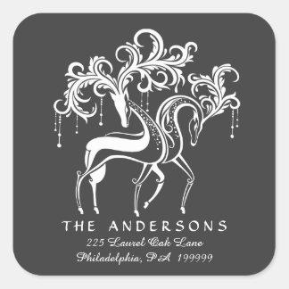 Chalkboard Reindeer Christmas Return Address Square Sticker