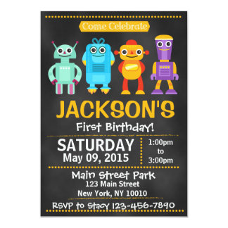 Chalkboard Robot Birthday Party Invitation