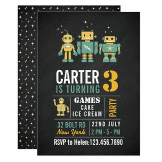 Chalkboard Robots Birthday Party Invitation