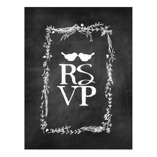Chalkboard RSVP Lovebirds Twig Wreath Postcard