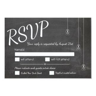 Chalkboard RSVP with lights Card