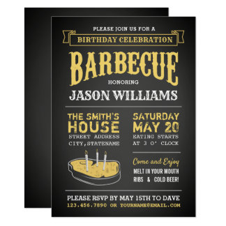 Chalkboard Rustic BBQ Birthday Party Invitations