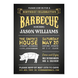 Chalkboard Rustic Birthday Party BBQ Invitations