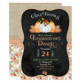 Chalkboard Rustic Country Thanksgiving Burlap Lace 13 Cm X 18 Cm Invitation Card