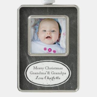 Chalkboard Rustic Grandparents Christmas Ornament