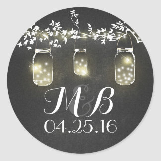 chalkboard rustic lights mason jars wedding round sticker