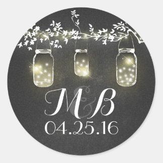 chalkboard rustic lights mason jars wedding round sticker