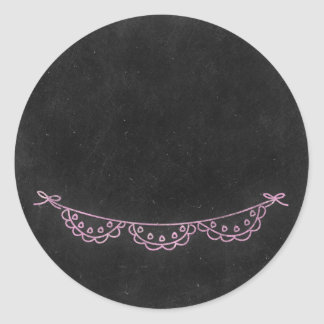 Chalkboard Rustic Shabby Chic Pink Chalk Bunting Classic Round Sticker