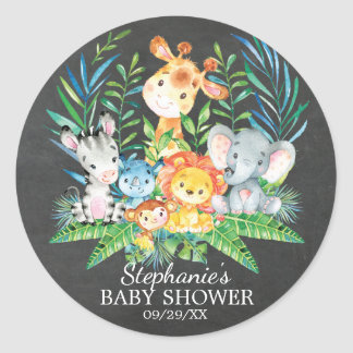 Chalkboard Safari Animal Baby Shower Favor Sticker