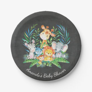 "Chalkboard Safari Jungle Baby Shower 7"" Plate"