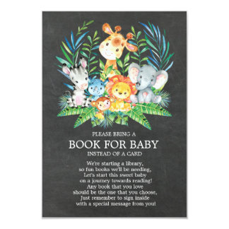 Chalkboard Safari Jungle Baby Shower Book for Baby Card