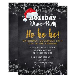 Chalkboard Santa Holiday Dinner Party Invitation