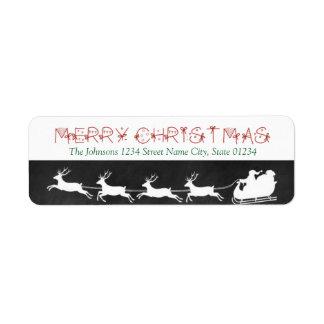 Chalkboard Santa Sleigh Return Address Label