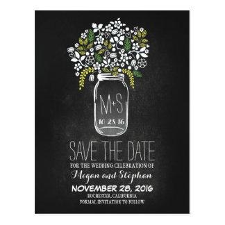 Chalkboard save the date - Floral Mason Jar Postcard
