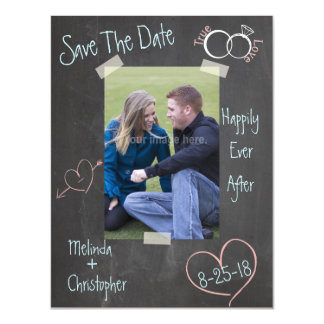 ChalkBoard Save The Date Photo Template Magnetic Invitations