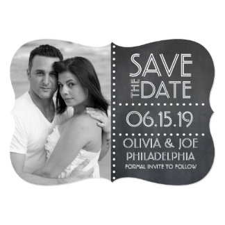Chalkboard Save the Date with Custom Photo Card