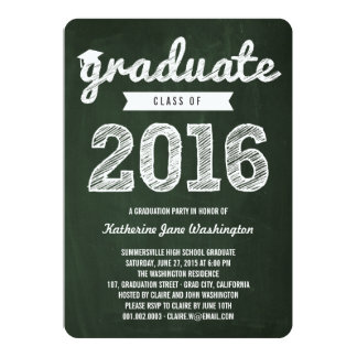Chalkboard Scribbles Graduate Class Of 2016 Party 13 Cm X 18 Cm Invitation Card