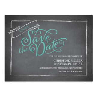 Chalkboard Script Blue Save the Date Postcard