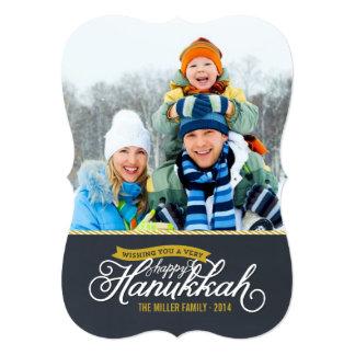 Chalkboard Script Hanukkah Photo Card 13 Cm X 18 Cm Invitation Card